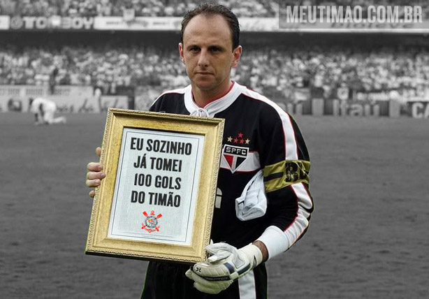 Rog�rio j� tomou 100 gols do Corinthians