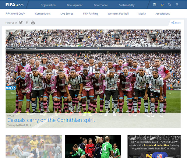Corinthian-Casuals na home do site da Fifa