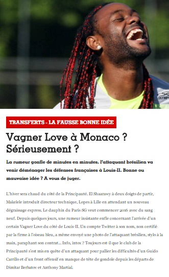 France Football usou foto de Love com a camisa do Flamengo