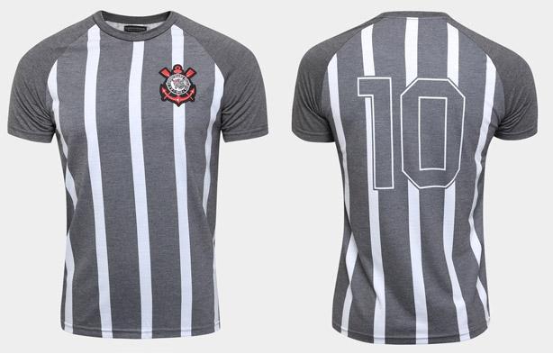 Camisa cinza do Corinthians retrô com listras brancas a80f822675f