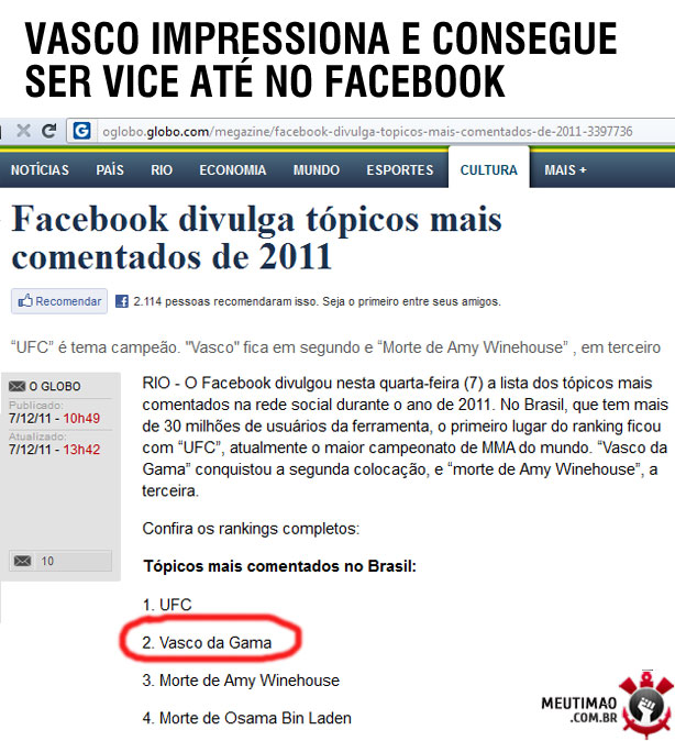Vasco é vice até no facebook