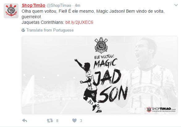 Acho que o perfil da loja ShopTimão no Twitter (loja oficial do Corinthians)  cantou a bola antes da hora. a74bcfde968e9