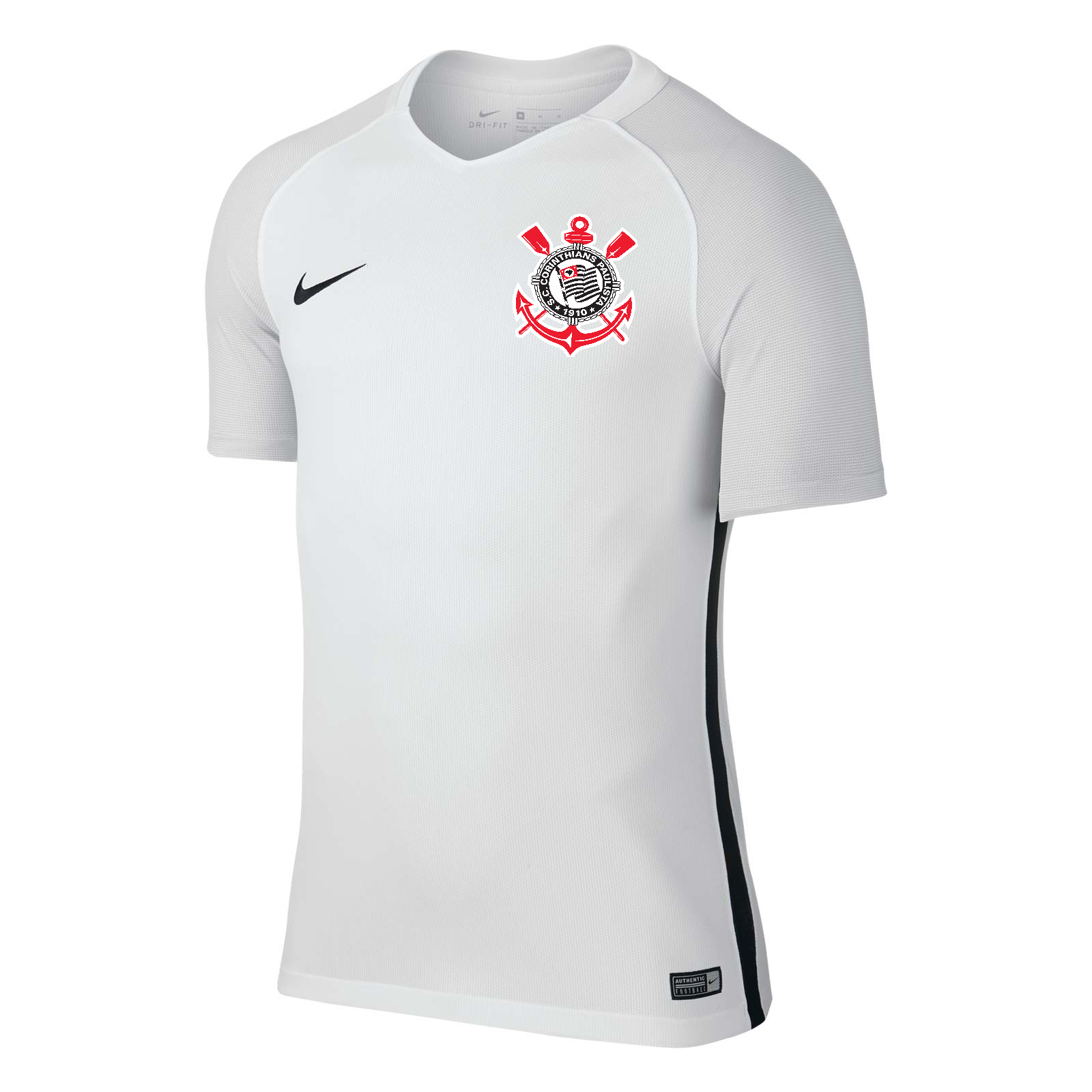 9216b1d55c341 Em dois tons de branco. Nos ombros e braços um branco  gelo  enquanto o  restante da camisa o branco normal.