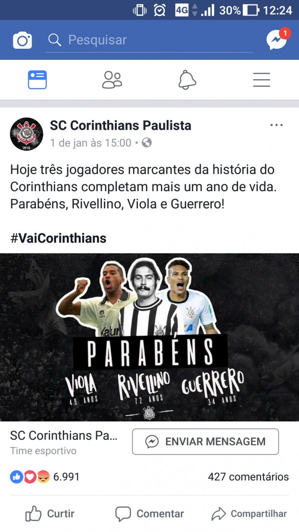 Rede social do Corinthians homenageando Guerrero