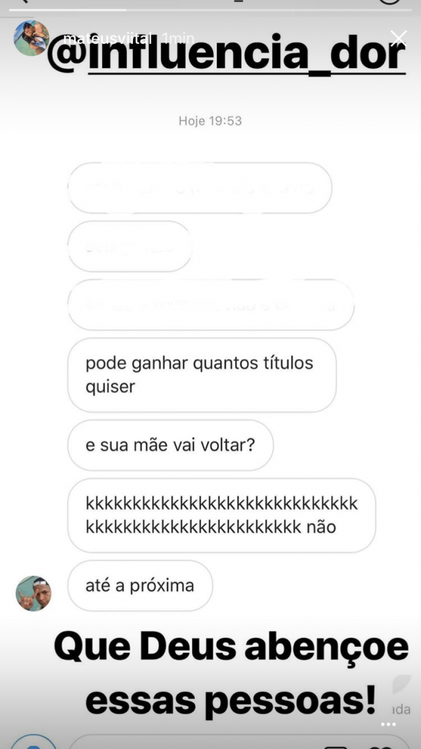 No Twitter do Matheus Vital, lamentável