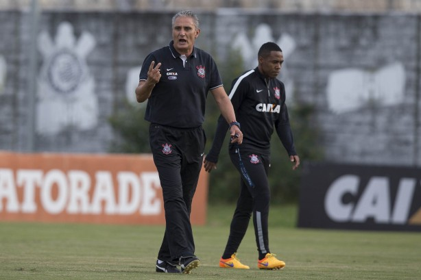 Tite no treino do Corinthians