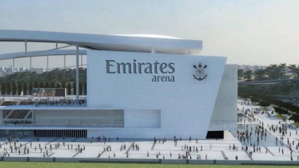 Protótipo da Arena Corinthians com naming rights adquiridos pela Emirates Airline