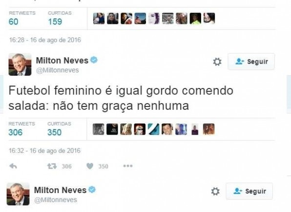 Perseguidor do Corinthians, Milton Neves faz coment�rios machistas na web