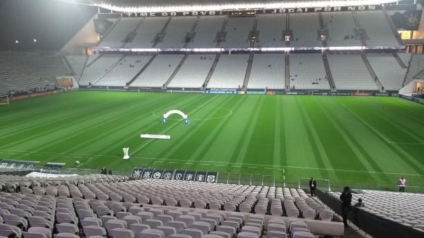Gramado da Arena Corinthians ganhou 'cara nova' nesta quarta-feira