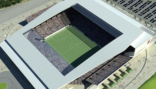 Perspectiva a�rea do teto do Est�dio do Corinthians